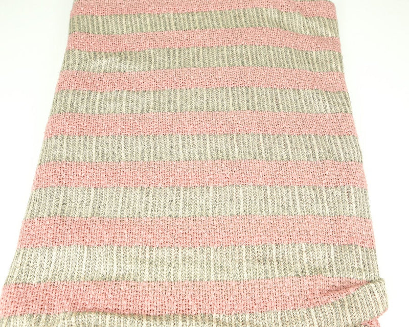 Pink Cream and Heather Black and Off White Stripe Open Weave Sweater Knit Fabric 1 yard and 34 Inches  OSK00190