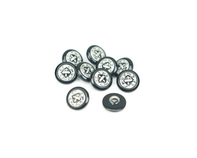 14mm Black and Silver Buttons Distressed Steampunk Style 10 Pieces  BUT00027