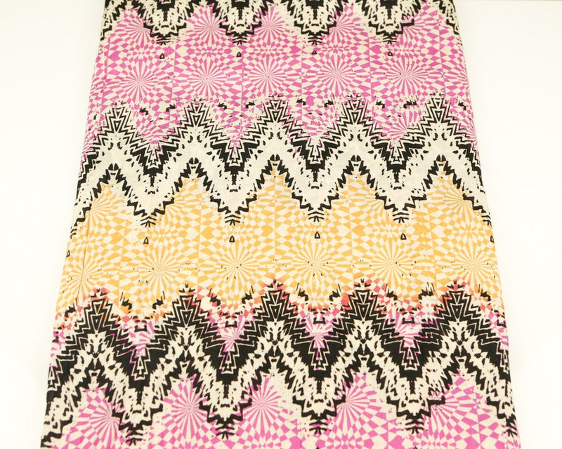 Pink Black Yellow Chevron Challis Woven Fabric 1.75 yards LWW00043