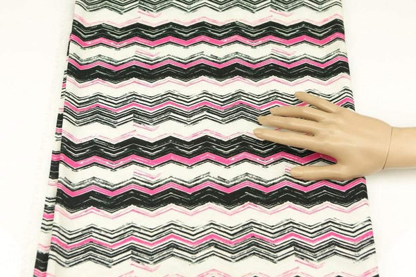 Pink Black Cream Chevron Light Weight Challis Woven Fabric 40 Inches in Length  LWW00044