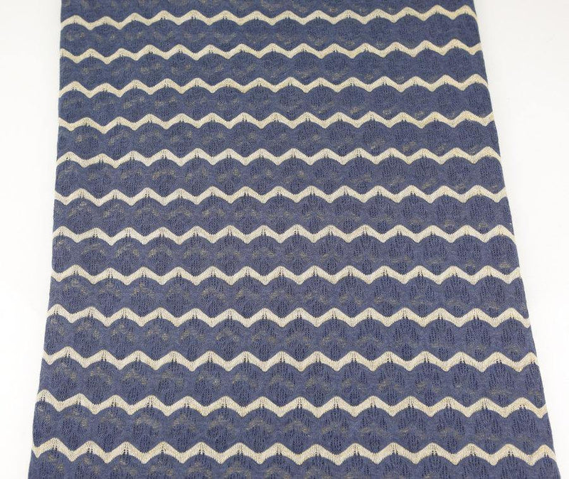 Muted Blue and Gold Stripe Open Weave Sweater Knit Fabric Fancy Wavy Stripes 33 inches length  Extra Wide  OSK00201