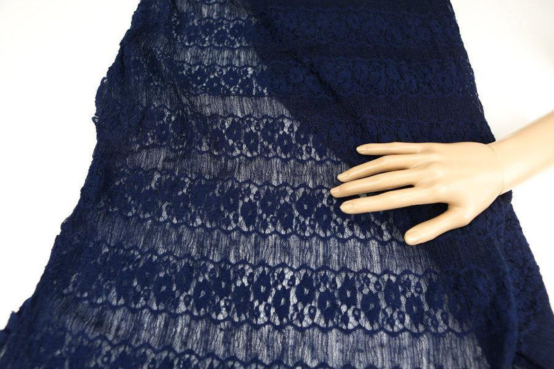 Dark Blue Floral Stripe Stretch Lace Knit Fabric by the yard Narrow Width LMS00011R