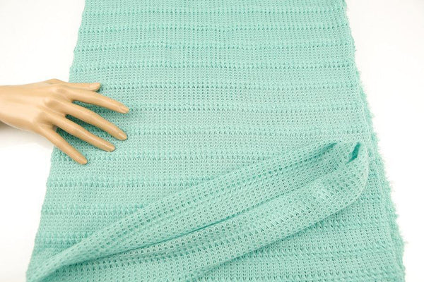 Mint Green Stripe Open Weave Sweater Knit Fabric by the yard  Extra Wide OSK00056R