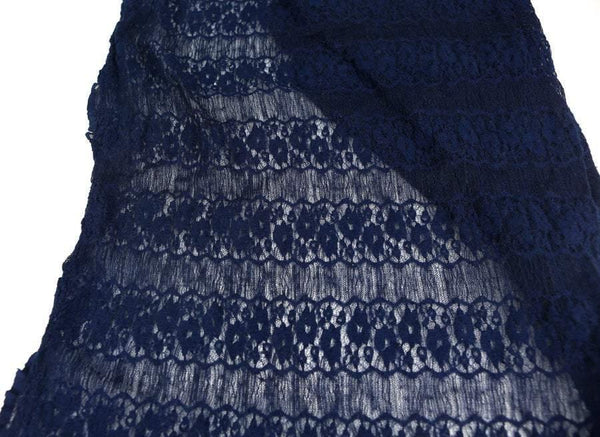 Dark Blue Floral Stripe Stretch Lace Knit Fabric 1 yard Narrow Width  LMS00011