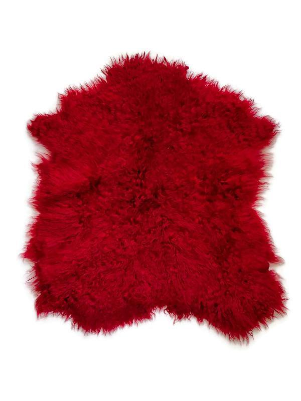 Dark Red Curly Sheepskin Hide Fur Leather LEF00001