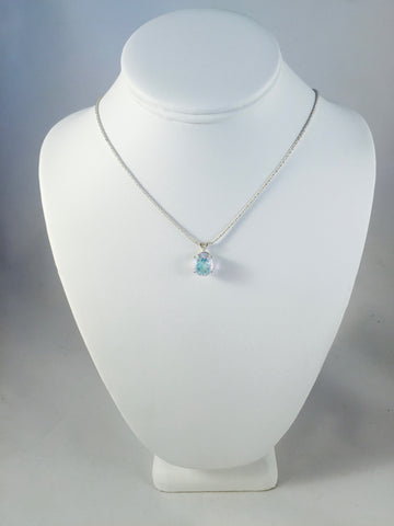 Opal White Quartz Oval Pendant on Sterling Silver Reverse Double Rope Chain