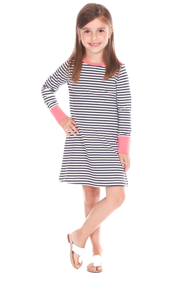 sophie dress/ navy stripe w/ coral