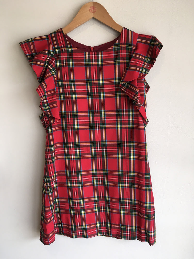 plaid dress with flutter