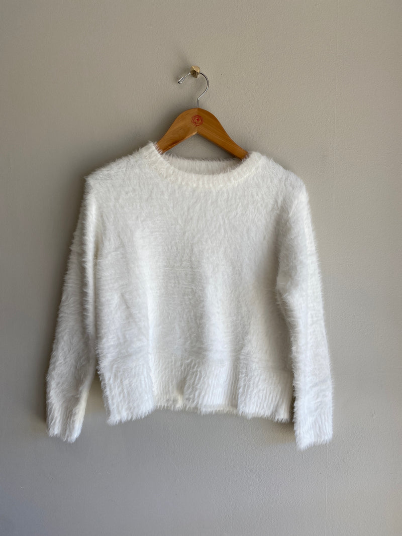 fuzzy pull over sweater