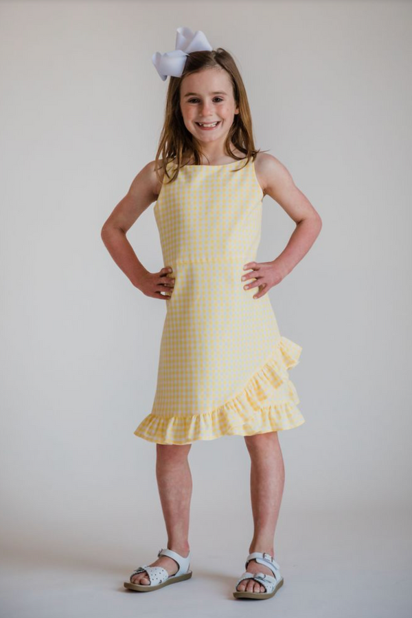 CHECK DRESS W/ HEM RUFFLES