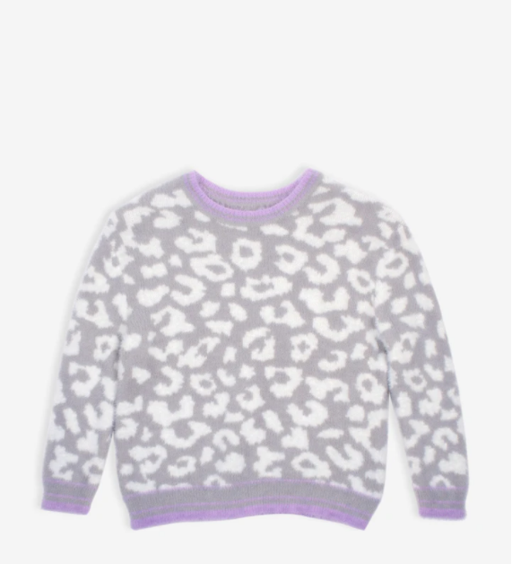 snow leopard cozy sweater