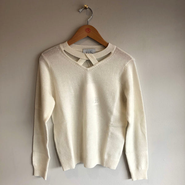 twist neck crew sweater