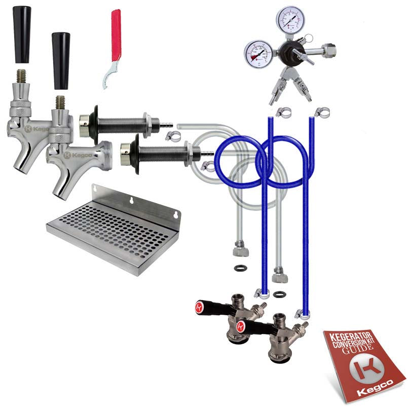Deluxe Dual Tap Door Mount Kegerator Conversion Kit without Tank