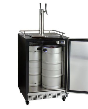 "24"" Wide Dual Tap Stainless Steel Commercial Right Hinge BuiltIn Kegerator with Kit"