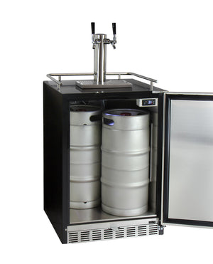 "24"" Wide Dual Tap Stainless Steel BuiltIn Right Hinge Kegerator with Kit"