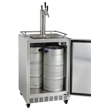 "24"" Wide Triple Tap All Stainless Steel Commercial Right Hinge Kegerator with Kit"