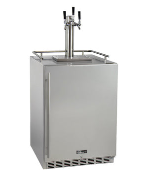 "24"" Wide Triple Tap All Stainless Steel Outdoor Built-In Right Hinge Kegerator with Kit"
