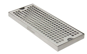 "12"" Surface Mount Stainless Steel Drip Tray - No Drain"