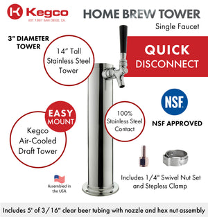 "14"" Tall Polished Stainless Steel 1-Tap All Stainless Contact Quick Disconnect Homebrew Tower"