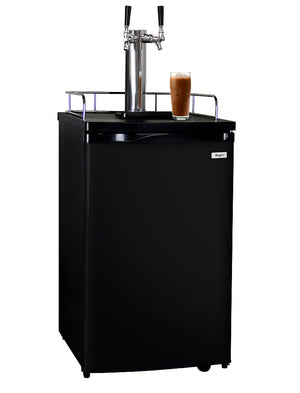 "Kegco 20"" Wide Cold Brew Coffee Dual Tap Black Kegerator"
