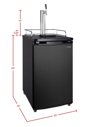 "20"" Wide Single Tap Black Kegerator"