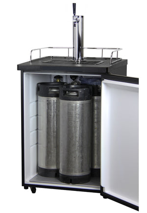 "24"" Wide Single Tap Black Kegerator"
