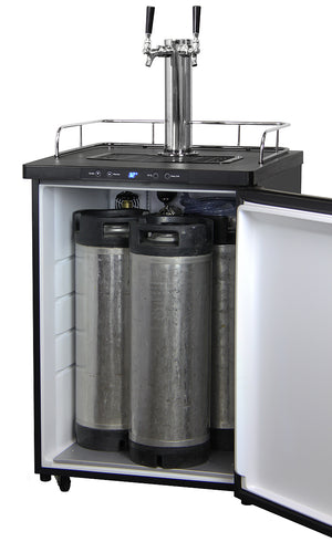 "24"" Wide Cold Brew Coffee Dual Tap Stainless Steel Digital Kegerator"