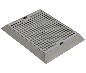 "12"" x 9"" Bevel Edge Drip Tray with Drain"