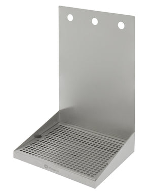 "12"" x 10"" Wall Mount Drip Tray with Drain - 3 Shank Holes"