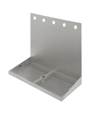 "20"" x 10"" Wall Mount Drip Tray with Drain - 5 Shank Holes"