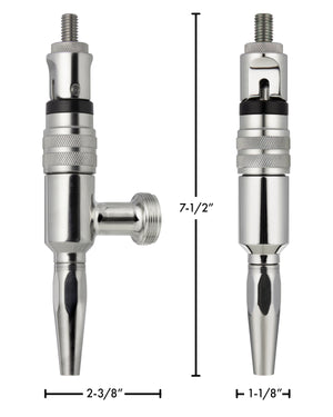 "7.5"" Stainless Contact Nitro Stout Beer Faucet"