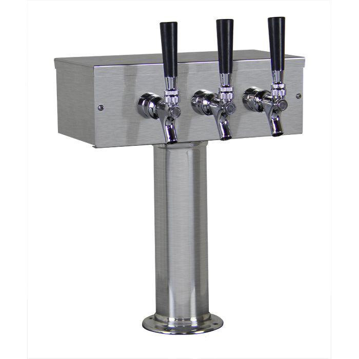 3 Faucet Brushed Stainless Steel Draft Beer Tower - Chrome Faucets with Stainless Steel Levers