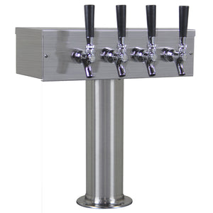 4 Faucet Brushed Stainless Steel Draft Beer Tower