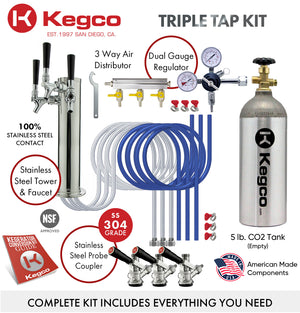 "24"" Wide Triple Tap Stainless Steel Kegerator"
