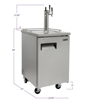 "24"" Wide Homebrew Triple Tap All Stainless Steel Commercial Kegerator with Keg"