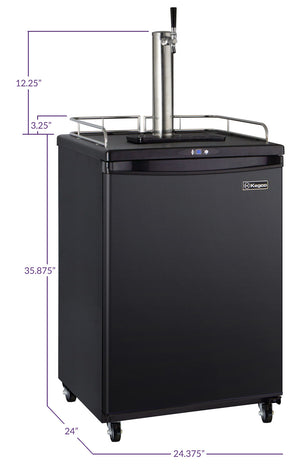 "24"" Wide Homebrew Single Tap Black Commercial/Residential Kegerator with Keg"