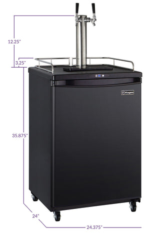 "24"" Wide Homebrew Dual Tap Black Commercial/Residential Kegerator"