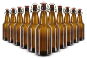 EZ Cap 500ml Flip-Top Home Brew Beer Bottles - Amber (Set of 12)