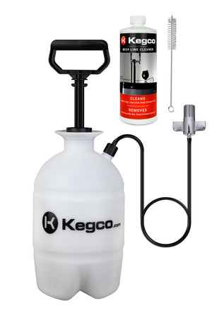 Deluxe Hand Pump Pressurized Keg Beer Kegerator Cleaning Kit with 32 oz. Cleaner