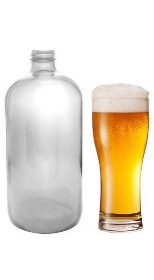 32 oz Clear Glass Boston Round Growler