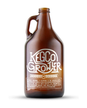 Amber 64-oz. Kegco Glass Beer Growler with 4 Kegco Pint Glasses
