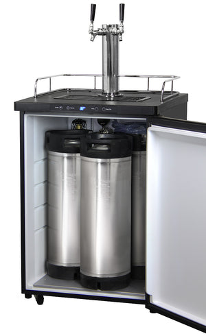 "24"" Wide Homebrew Dual Tap Stainless Steel Digital Kegerator with Keg"
