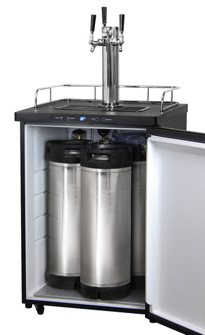 "24"" Wide Homebrew Triple Tap Black Stainless Steel Digital Kegerator with Keg"