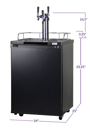 "24"" Wide Triple Tap Black Kegerator"