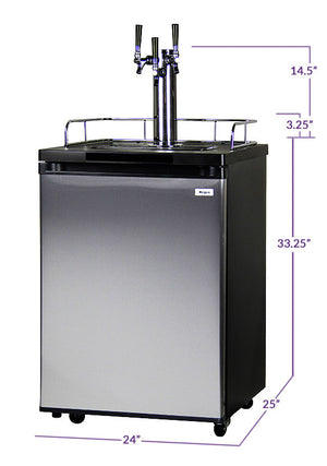 "24"" Wide Homebrew Triple Tap Stainless Steel Kegerator with Keg"