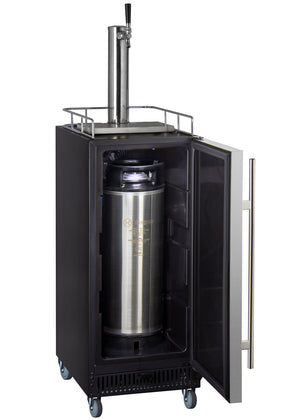 "15"" Wide Cold Brew Coffee Single Tap Stainless Steel Commercial Kegerator"