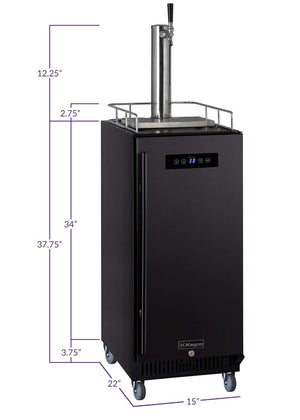 "15"" Wide Cold Brew Coffee Single Tap Black Commercial Kegerator"