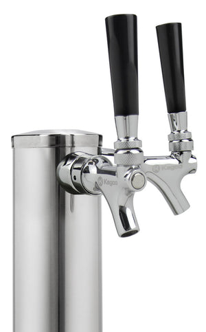 "14"" Tall Dual Faucet Polished Stainless Steel Draft Beer Tower - 100% Stainless Steel Contact"