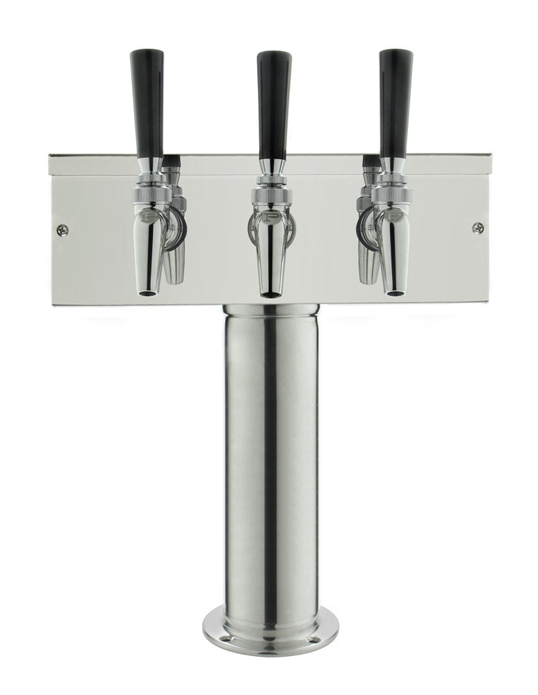 3 Faucet Polished Stainless Steel Draft Beer Tower - Perlick Faucets