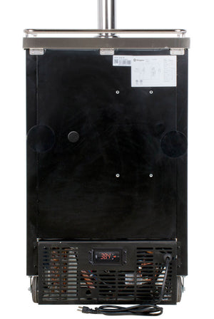"24"" Wide Four Tap Black Commercial Kegerator with Keg"